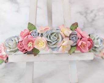 Dusty blue pink flower crown - wedding floral hair wreath - flower headpiece for girls - flower hair accessories