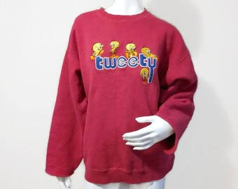 Vintage Tweety Bird Sweater 90s Looney Tunes Sweatshirt Warner Bros - Color Pink - Size XL