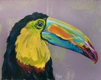 Toucan art Print of Original Acrylic Painting, Toucan Poster wall art, Toucan decor, Tropical Bird Print, Toucan artwork, Animal print