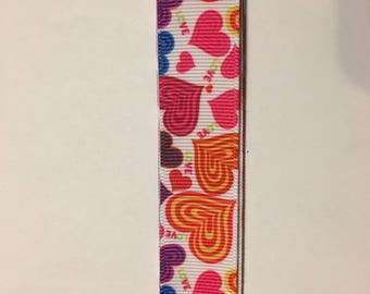"Valentine Heart Grosgrain Ribbon - 2 yards of 7/8"" - Free Shipping"