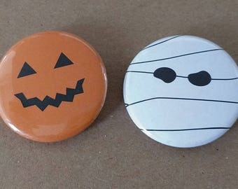 Halloween Faces Buttons or Magnets