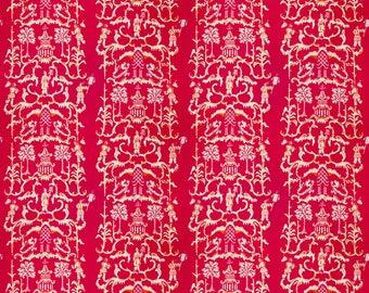 DESIGNER CHINOISERIE LINEN Fabric 10 Yards Fuchsia Multi