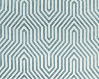 SCHUMACHER VANDERBILT RETRO Deco Cut Velvet Fabric 10 Yards Marine Blue