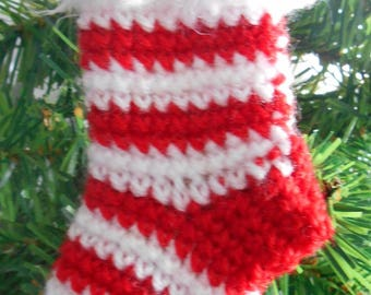 Mini striped red and White Christmas sock