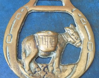 Rare vintage HORSE BRASS Clovelly Donkey style Design Made in England