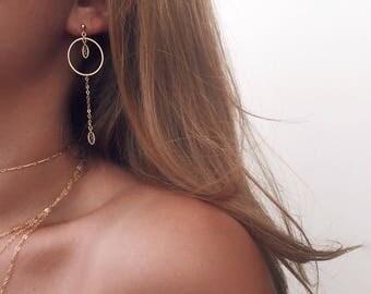 Gold Round Earrings, Dainty Gold Earrings, 14 KT Gold Fill, Chain Earrings, Stud Earrings, Gold Hoop Earrings