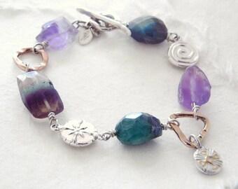 "Handmade Charm Bracelet ""one of a kind"" Sterling Silver/Gold/Rose Gold"