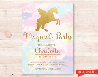 Rainbow Unicorn Invitation | Unicorn invitation | Unicorn party theme | Rainbow Birthday Party | Magical Party | Unicorn Birthday Party