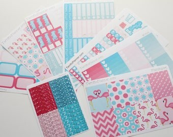 Flamingo Weekly Planner Sticker Kit and Washi