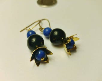 Simple Mini Earrings Made from Recycled colored beads • Blue, Black and Gold beads • Zero Waste Jewelry • Ecofriendly • Boutique Montreal