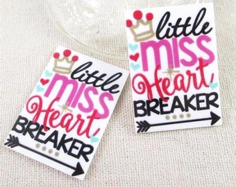1 PIECE -  - Little Miss Heart Breaker Heartbreaker -Approx 1 3/4 INCHES by 1 1/4 inches  Flat Back Resin Accent Flatback Planar