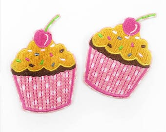 1 Piece -Cupcake Cake Embroidery Patch Iron on with glue - Approx. 2 inches for Hair bow Center