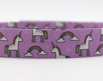 Purple Unicorn and Rainbow Dog Collar, Unicorn Dog Collar, Rainbow Dog Collar, Large Dog Collar, Custom Dog Collar, Adjustable Dog Collar