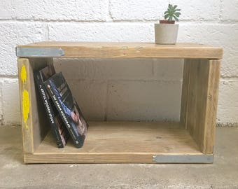 Reclaimed Scaffold Wood Side Table, Industrial Style, Small Wooden Table, Recycled Wood Furniture