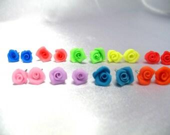 Boucles d'oreilles Puces couleurs aux choix mini rose