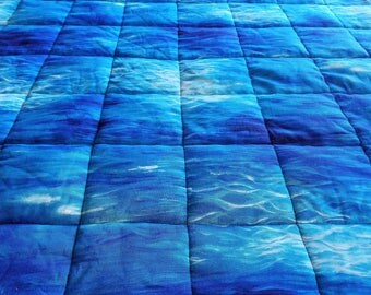 weighted blanket - adult to child - sensory blanket - gravity - therapy blanket - PTSD relief - autism blanket - peaceful waters - blanket