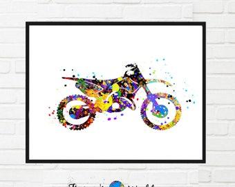 Motorbike Sport Printable, Motorcycle Watercolor,Sport Bike Motorcycle Dirt Bike, Boys Room Art,Stunt Racing Bike Motocross Poster Wall Art