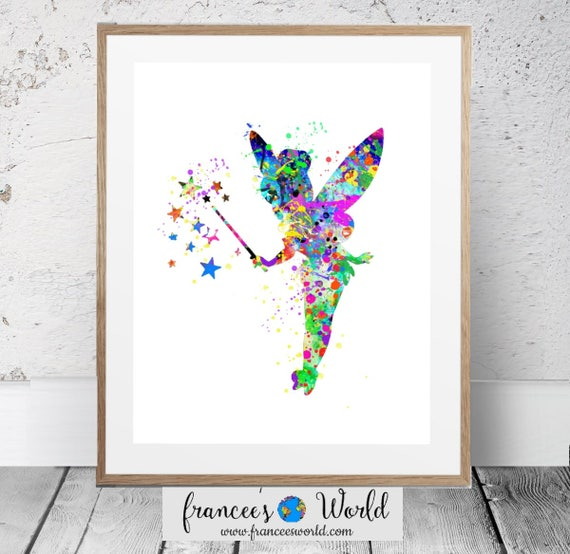Tinkerbell Poster,Tinker Bell Disney Watercolor Art Print Baby ...