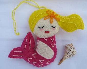 Mermaid felt ornament, beach decoration, handmade plush, gift