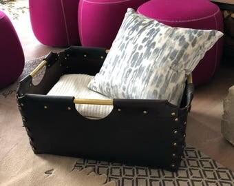 Leather Blanket Bin