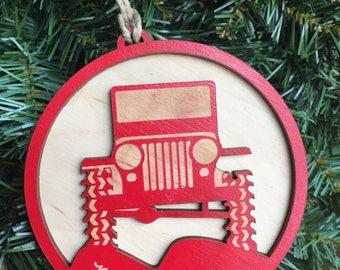 Jeep CJ Christmas Ornament