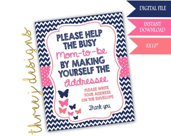 Butterfly Baby Shower Address Envelope Sign - INSTANT DOWNLOAD - Navy Blue, Pink and Coral - Digital File - J003