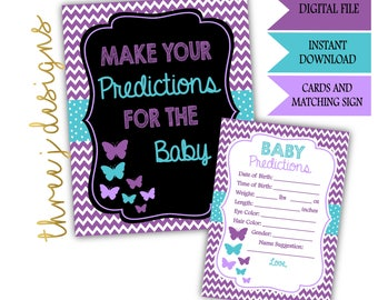 Butterfly Baby Shower Predictions for Baby Cards and Sign - INSTANT DOWNLOAD - Purple and Teal - Digital File - J001