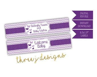 Butterfly Baby Shower Water Bottle Labels - INSTANT DOWNLOAD - Plum and Lavender - Digital File - J004