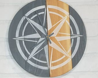Round Wall Clock - Grey with Natural Stripe & White Nautical Star