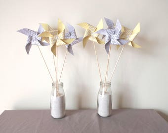 8 spikes with polka dots and chevron pinwheels mustard yellow and grey - party table decoration, candy bar, birthday,.
