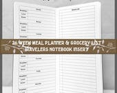Travelers Notebook Insert 26 Week Meal Planner w/ Grocery List for Midori or Fauxdori Travelers Notebooks. 9 TN Sizes, 40 Cover Colors