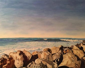 "Sea With Rocks, oil painting on stretched canvas, 24""x36"". Framed."