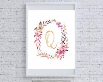 "Floral Gold Glitter Monogram ""Q"" Art Print"