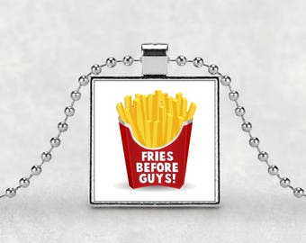 French fries pendant, Fries before guys, girl power, best friends, feminist, sarcasm, vagina, bff gift, silver pendant, I love french fries