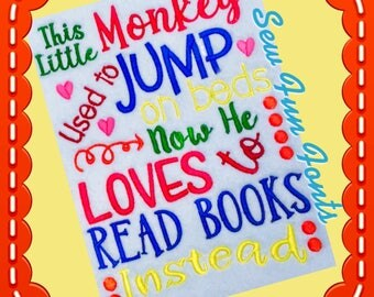 This Little Monkey Loves To Read Books Reading Saying, Reading Quote, BOY Version~ Subway Art Machine Embroidery Design INSTANT DOWNLOAD