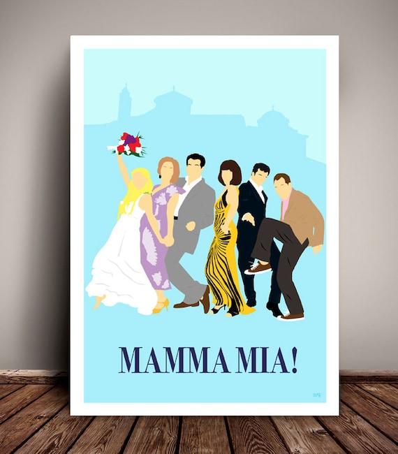 Mamma Mia! // Minimalist Movie Poster // ABBA // Unique Art Print