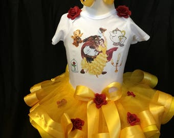 Little  girls  hand made beauty and the beast tutu outfit