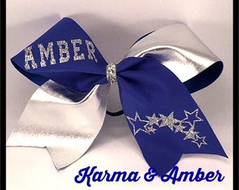 Blue & Silver PERSONALIZED Cheer Bow CHOOSE A NAME