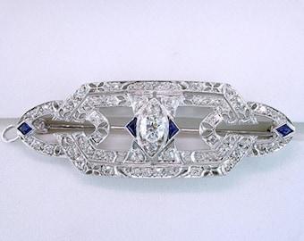 Antique Art Deco 1.55ct Sapphire Diamond Platinum Filigree Pin Brooch