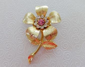 Vintage Gold Tone Flower Pin Brooch w/ Pink & Clear Rhinestones