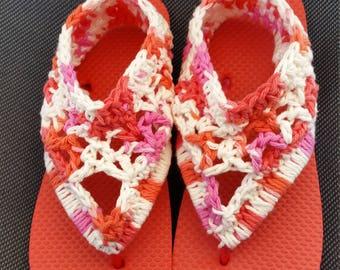 Women's Crocheted Flip Flops, Sandals Size Medium