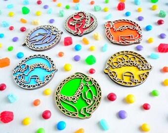 Laser Cut Wood Dinosaur Coasters - Rainbow Colours - Set of 6