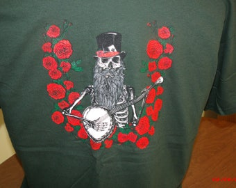 """Jerry Garcia Acoustic Band inspired """"Blue Yodel #9"""" T shirt. Grateful Dead Shirt Skull and Roses shirt Jerry Garcia Shirt"""