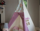 Teepee / Kids Play Tent, Tepee for child, 3 sizes available. Shabby Chic Floral Topper. All Poles Included