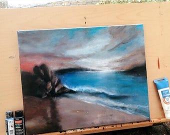 Ocean Sea Rock Original Acrylic Painting