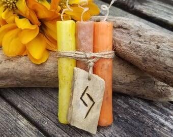 Harvest Spell Candles, Mini 4 inch Ritual Candles, Sabbat Ritual Candle Set, Lughnasadh, Mabon, Samhain, Wicca, Pagan