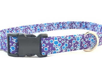 Violet Purple bubbles Dog Collar -  Dog Collar - modern purple dog collar - Girl dog collar - Dog Collar for girls - polka dot Collar
