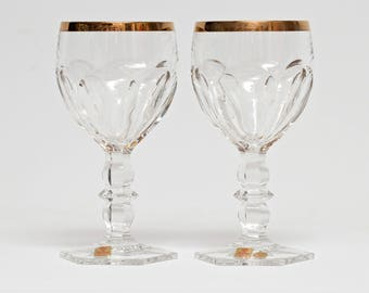 Nachtmann Residence Gold Crystal Water Goblets 6.25 Signed