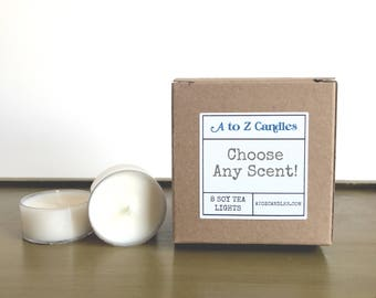 Tea Light, Tealight, Soy Tea Lights, Tea Light Candles, Vegan Candles, Scented Soy Candles, Scented Tea Lights, 8 Tea Lights