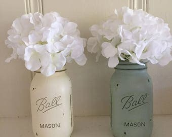 Two Painted and Distressed Mason Jars Floral Arrangement Table Centerpiece Wedding Decor Shabby Chic Decor Beach Decor Country Wedding